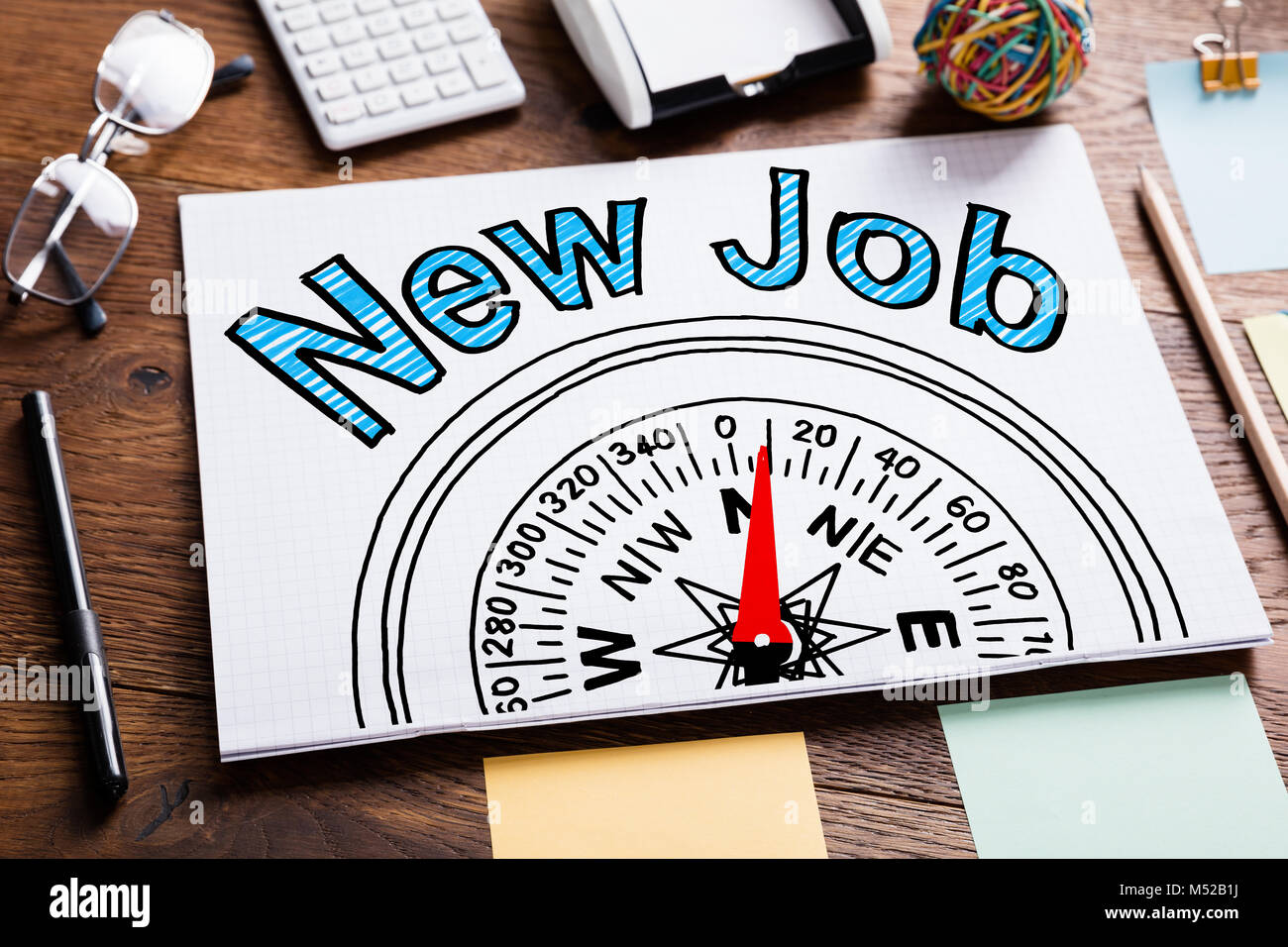 New Job Employment Concept In Notepad At Desk - Stock Image