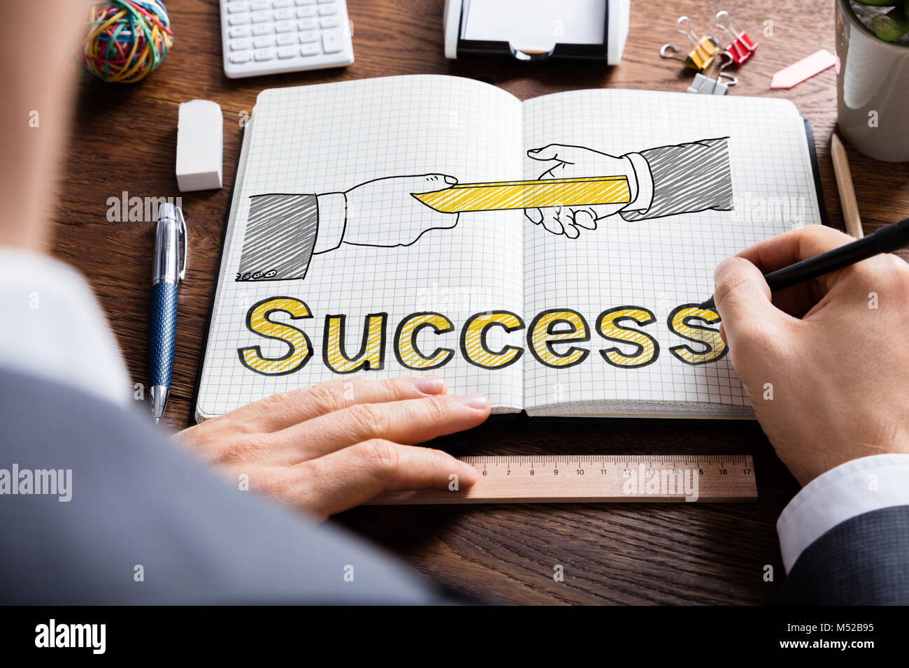 Man Drawing Relay Baton And Success Concept - Stock Image
