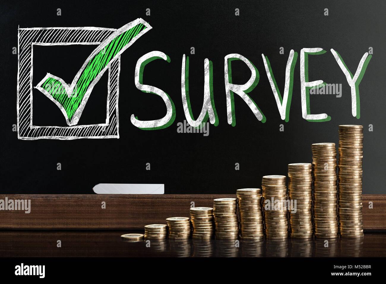 Customer Satisfaction Survey On Blackboard Behind Stacked Coins - Stock Image
