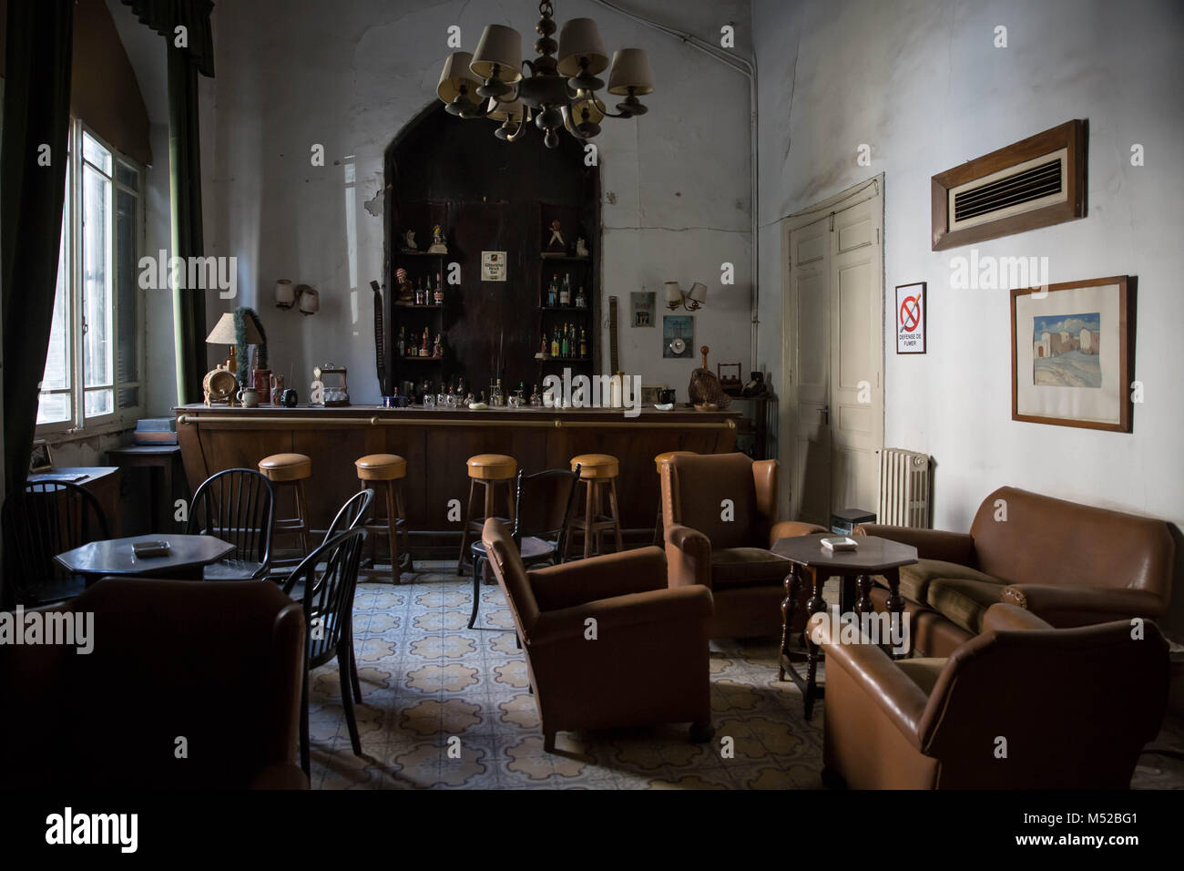 The bar of Aleppo's Baron Hotel. Aleppo's historic Baron Hotel was founded in 1911 by two Armenian brothers. - Stock Image
