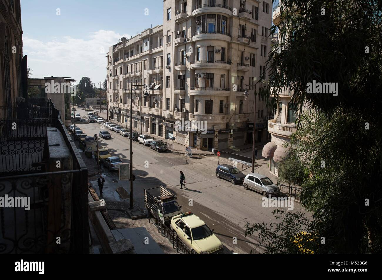 The view from the first floor of Aleppo's historic Baron Hotel. When fighting was bad, the frontline was very - Stock Image