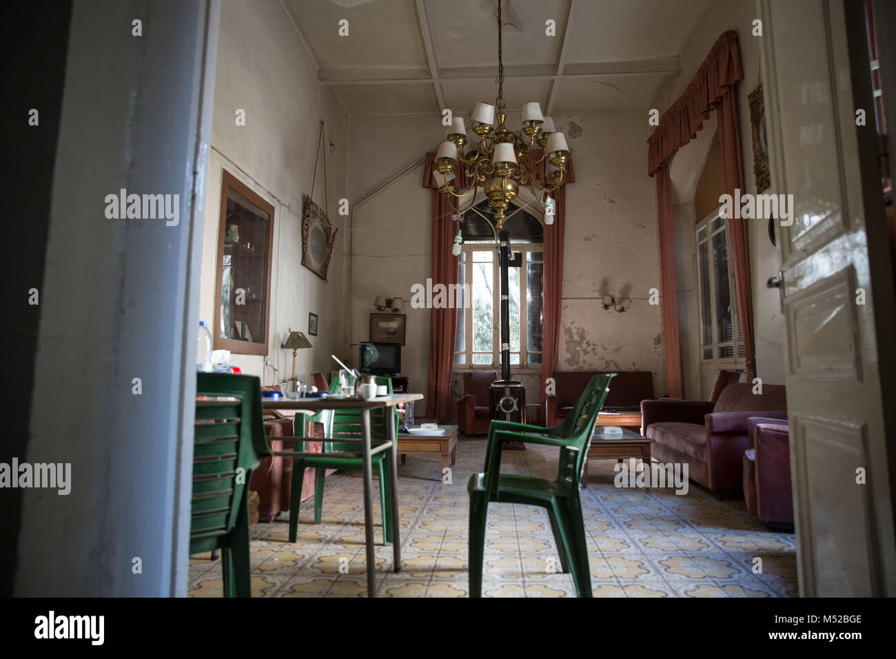 The lobby of the Baron Hotel in Aleppo. Rubina Tashjian, the widow of the hotel's former owner, said they stopped - Stock Image