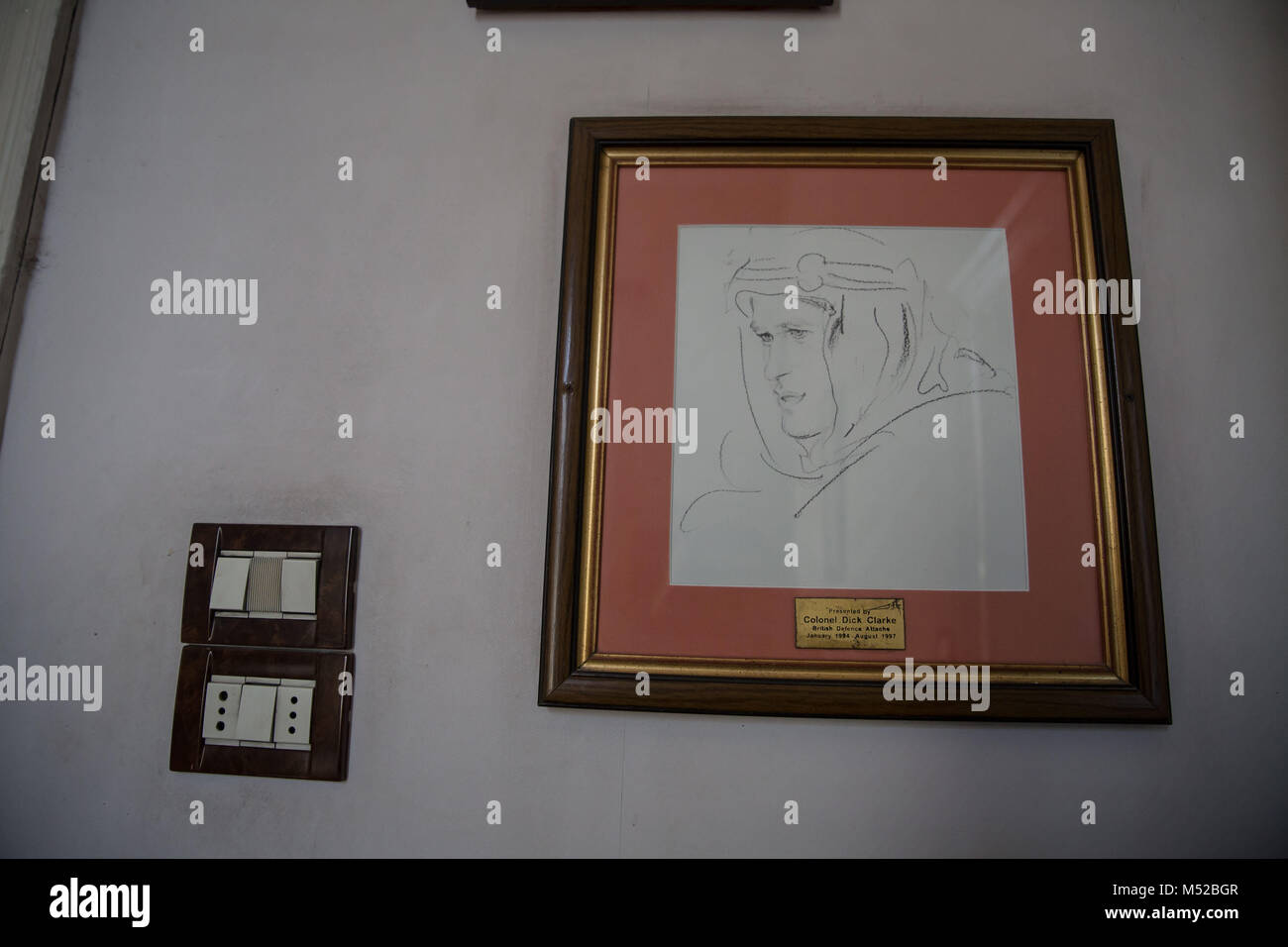Lawrence of Arabia was one of the guests at the hotel. His room can still be visited. A portrait of him can be seen - Stock Image
