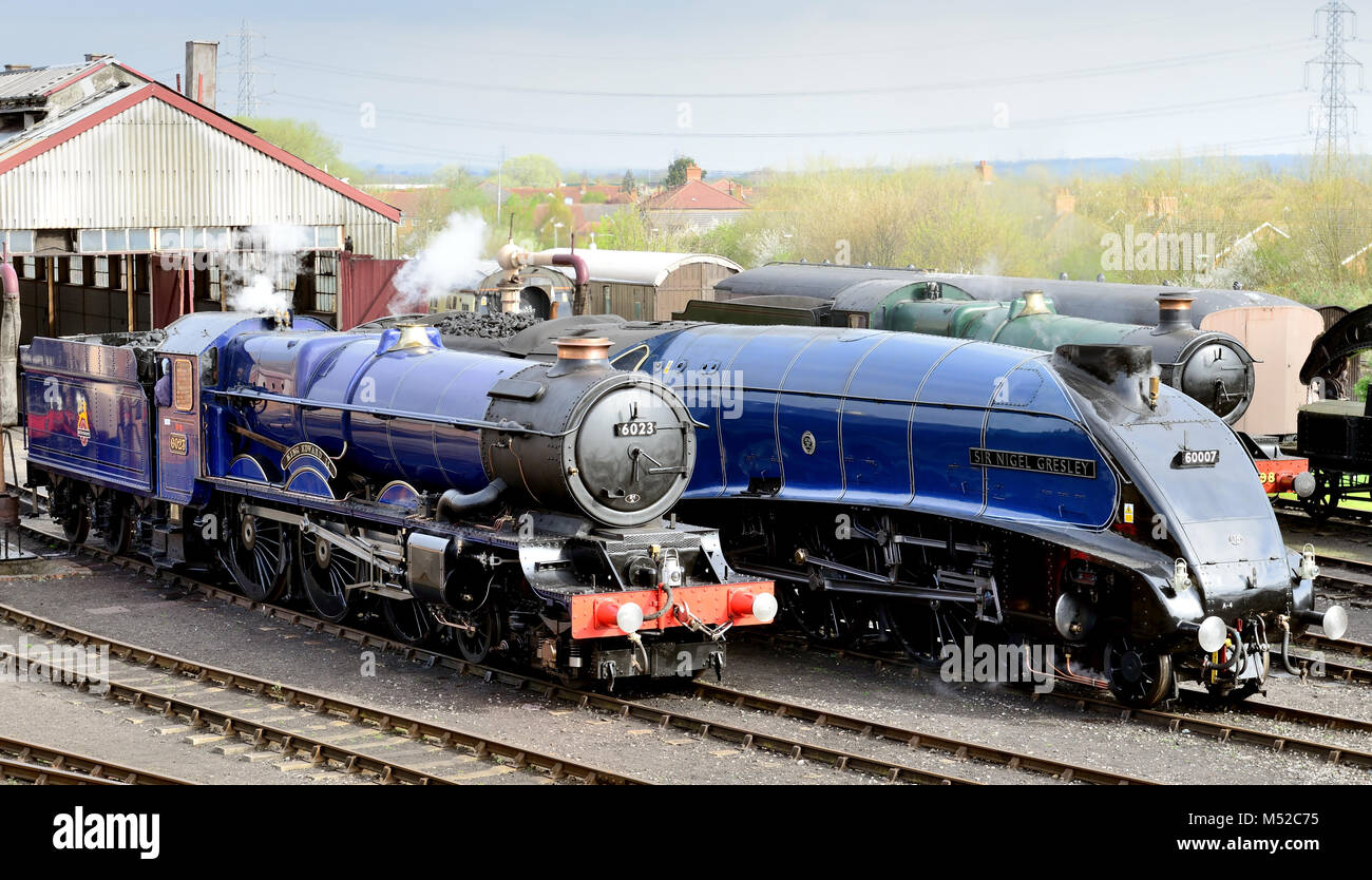 Steam locos King Edward II and Sir Nigel Gresley at Didcot Railway Centre during the 'Once in a Blue Moon' event. Stock Photo