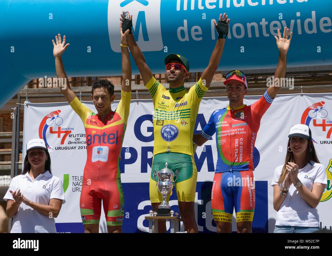 MONTEVIDEO, URUGUAY – FEBRUARY 18, 2018: last stage podium in 47 edition Rutas de America. - Stock Image