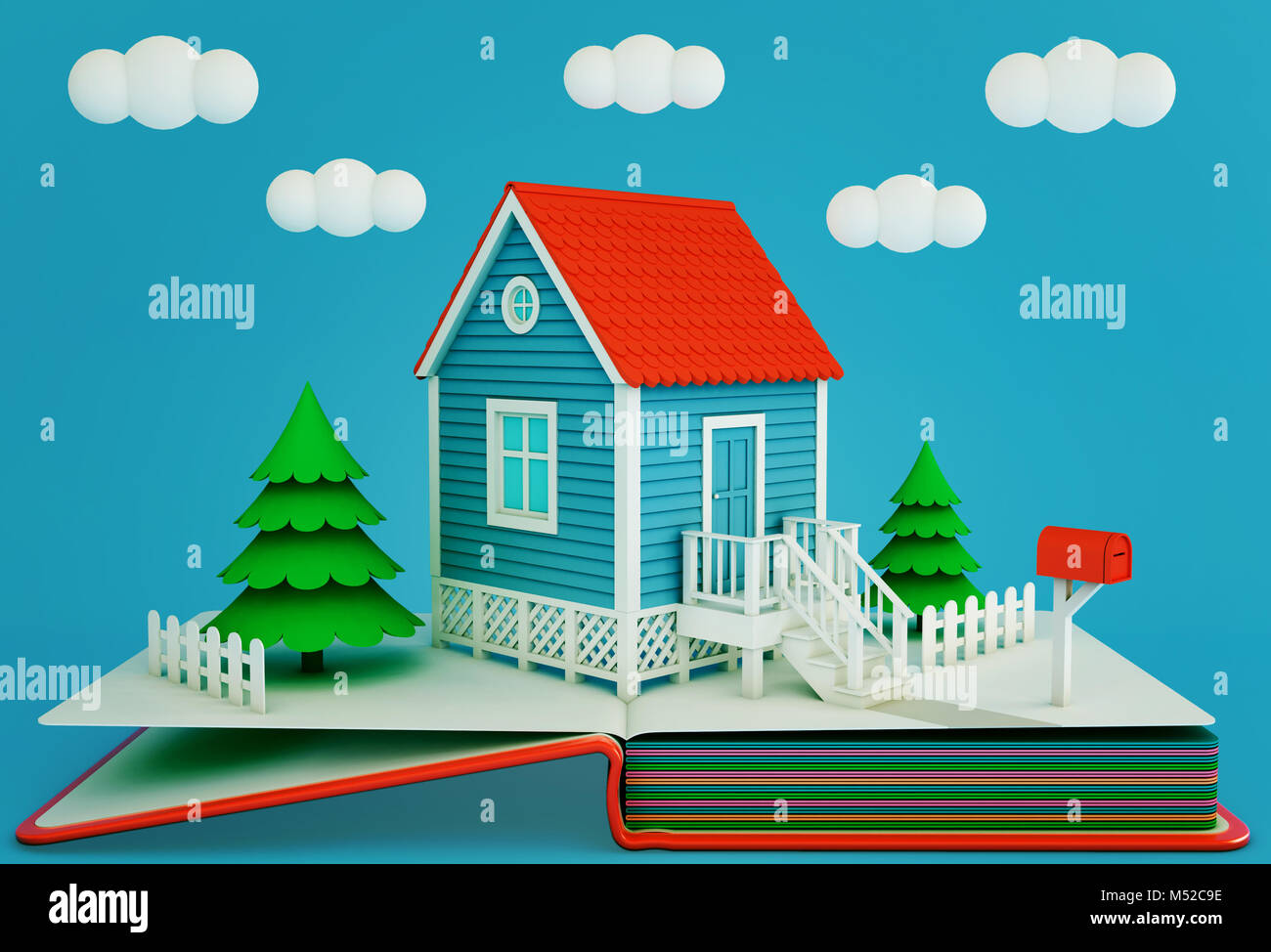 Pop up book with a suburban home and spruces. Winter time. 3D rendering - Stock Image