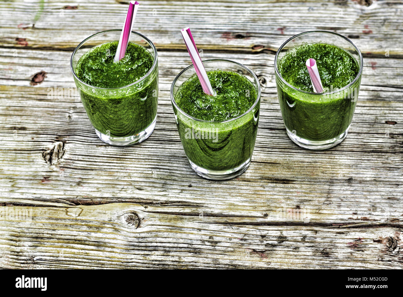 Detox drink from spinach and various green vegetables Stock Photo