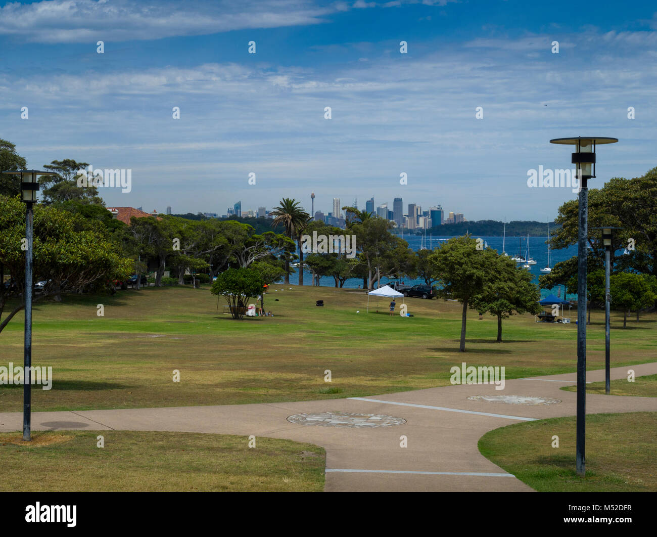Views of Sydney Harbour and central business district from Robertson Park, Watsons Bay, New South Wales, Australia - Stock Image