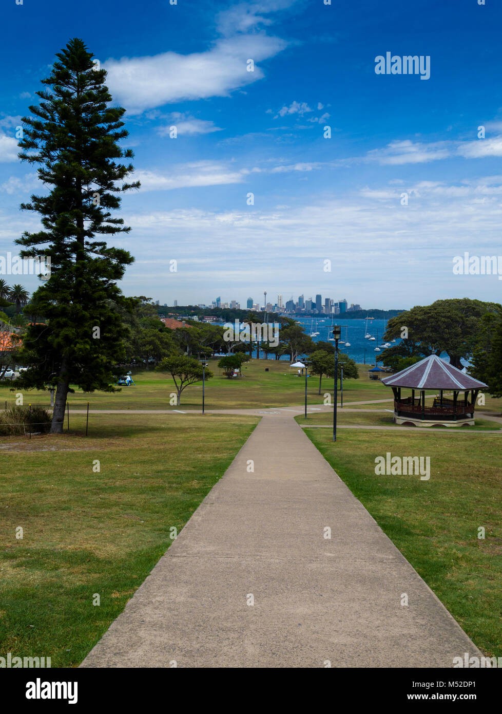 Pathway in Robertson Park, Watsons Bay, Sydney Harbour, New South Wales, Australia - Stock Image