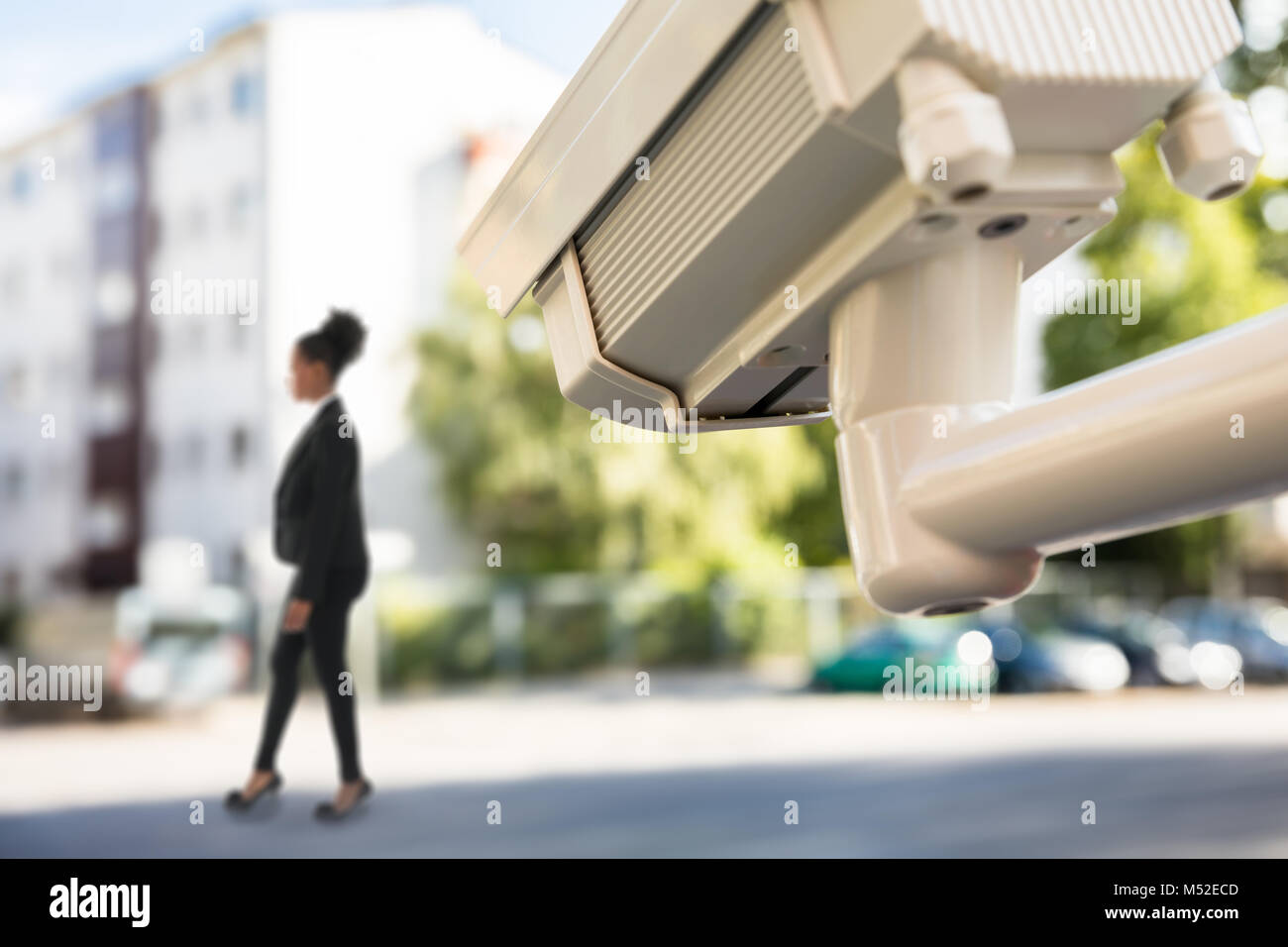 Close-up Photo Of CCTV Monitoring Street Movement - Stock Image