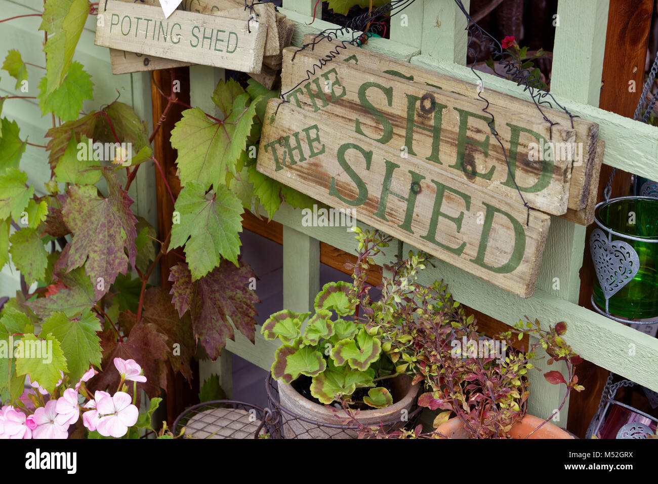 Genial Garden Shed Signs And Flower Pots Stock Photo: 175234078   Alamy