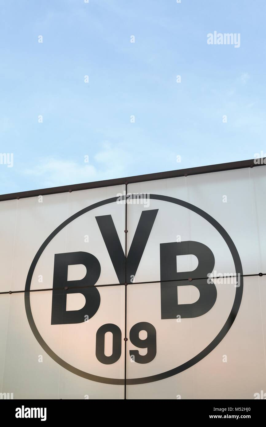 Dortmund, Germany - July 24, 2016:Borussia Dortmund logo on a wall. Borussia Dortmund or BVB is a German sports - Stock Image