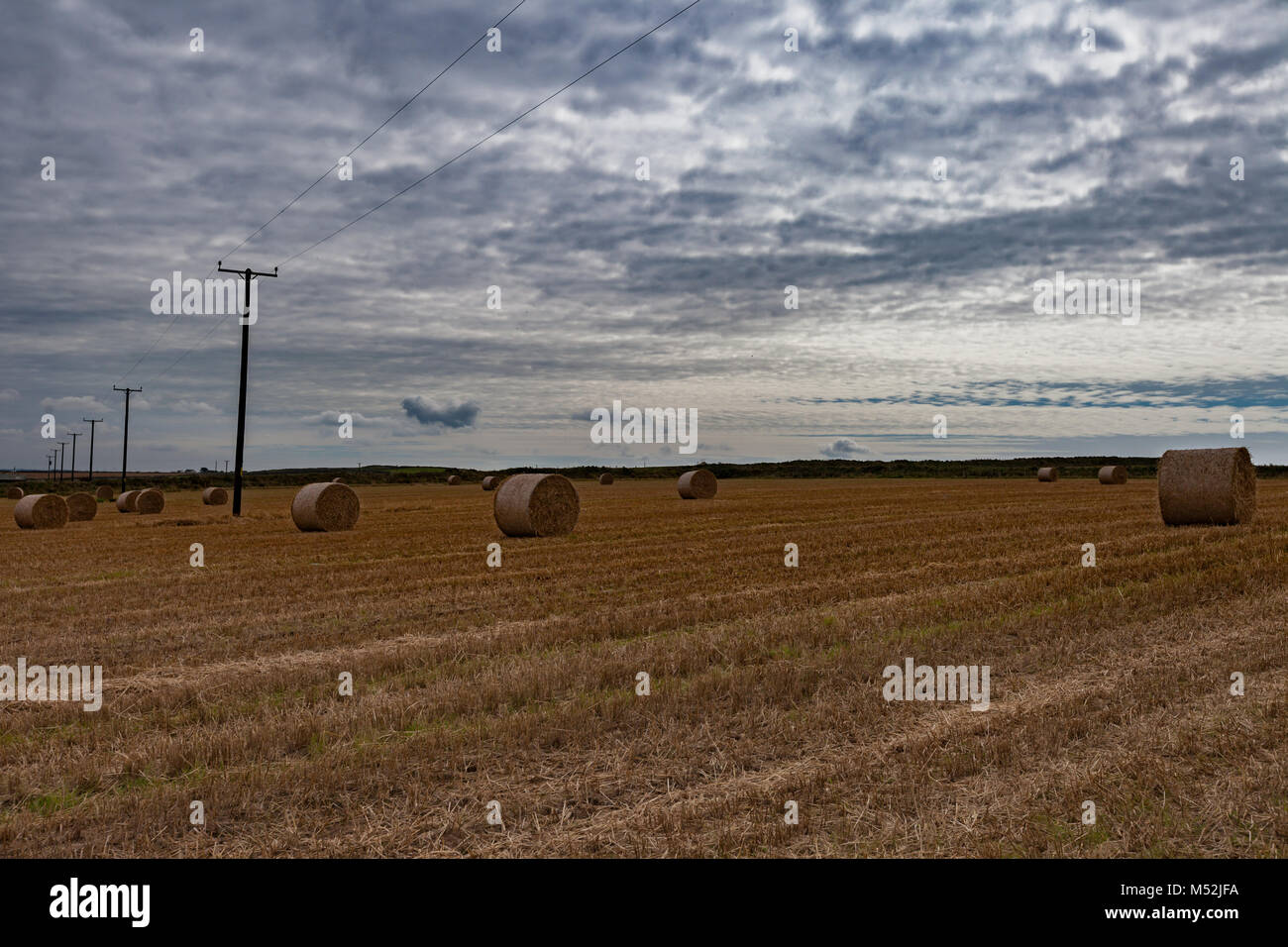 Wales landscape hayfield cloudy sky wide angle - Stock Image
