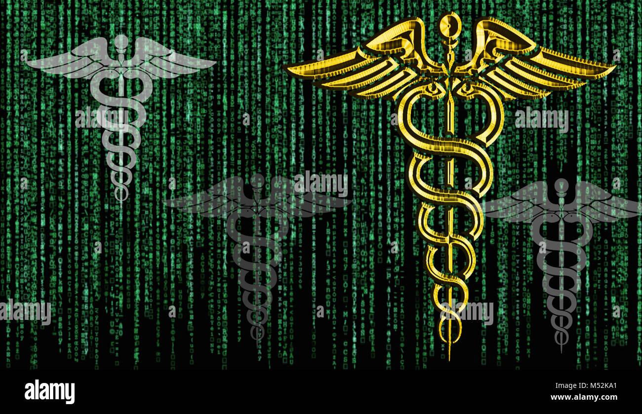 Rendering of caduceus matrix background symbolizing telemedicine - Stock Image
