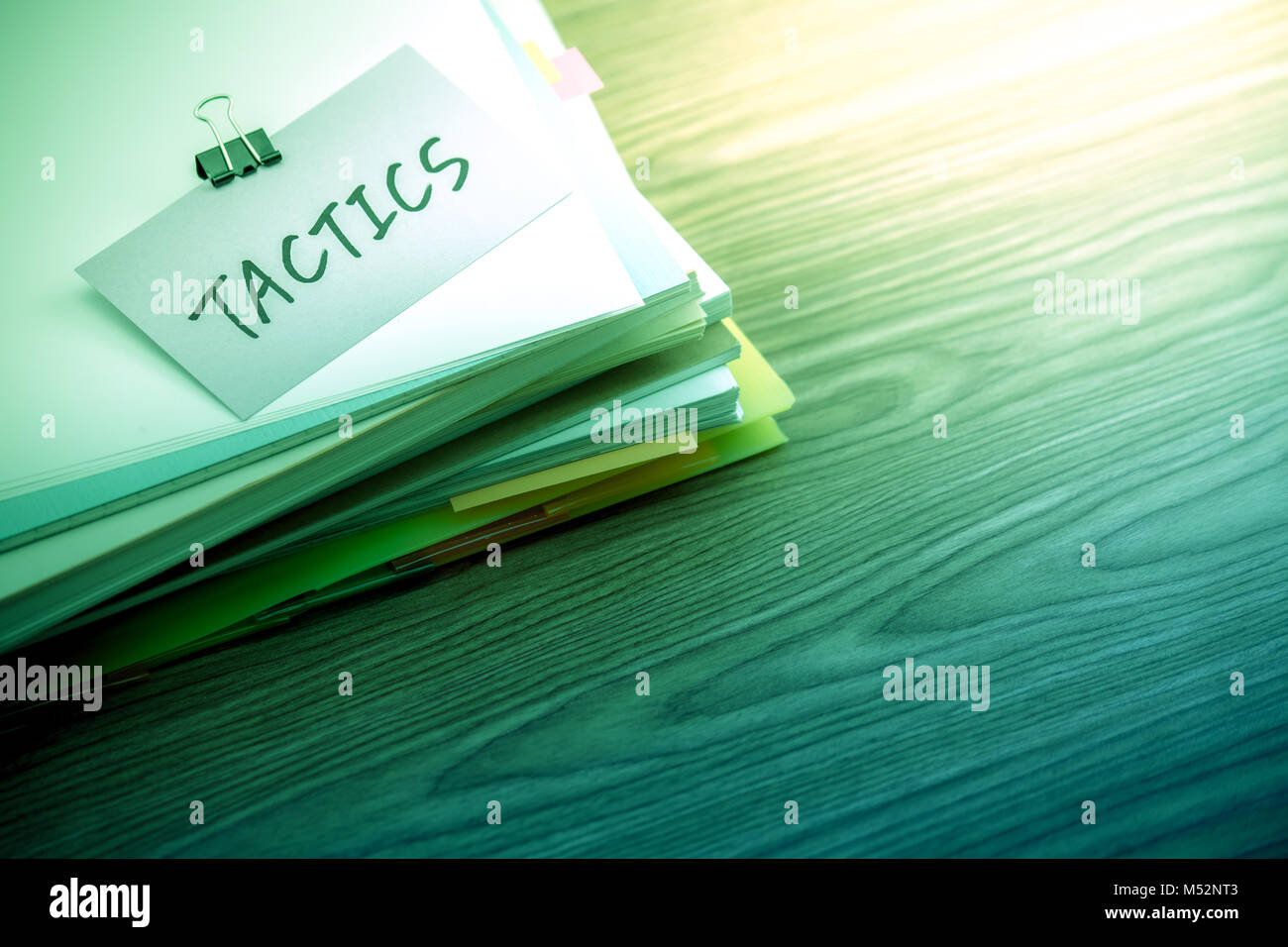 Tactics; The Pile of Business Documents on the Desk - Stock Image