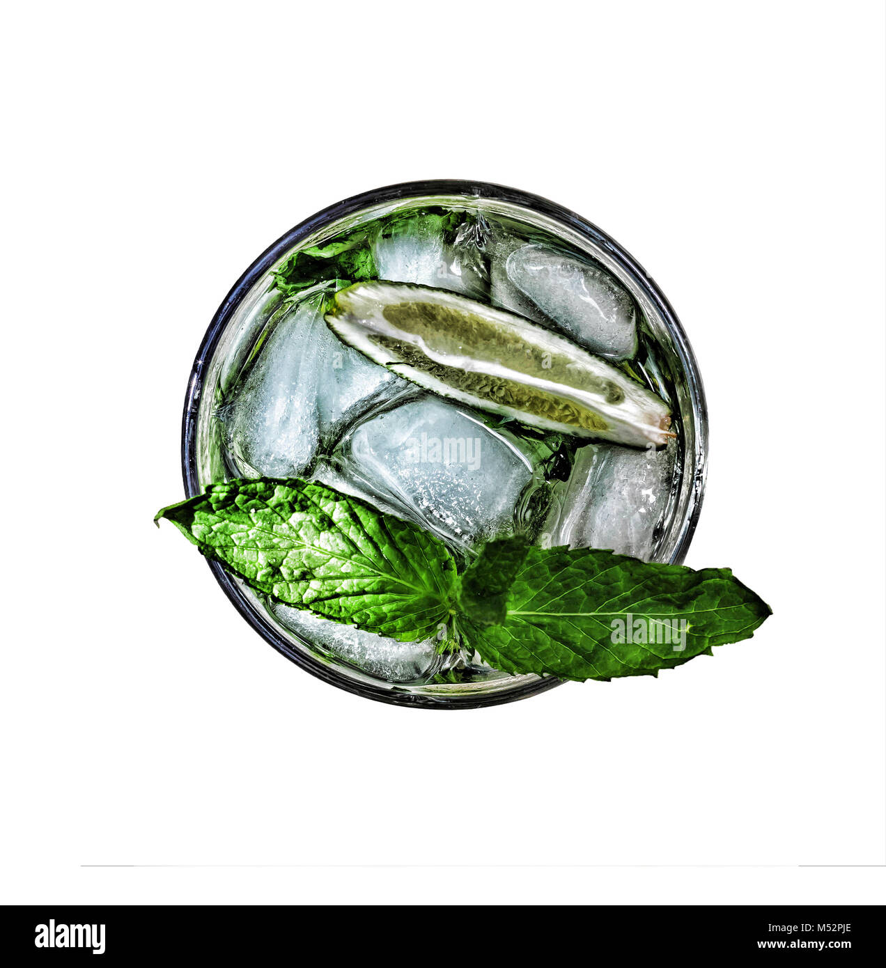 mojito cocktail refreshing isolated top view - Stock Image