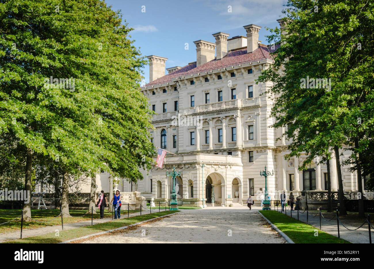 The Breakers was built as the Newport, Rhode Island summer home of Cornelius Vanderbilt II, a member of the wealthy - Stock Image