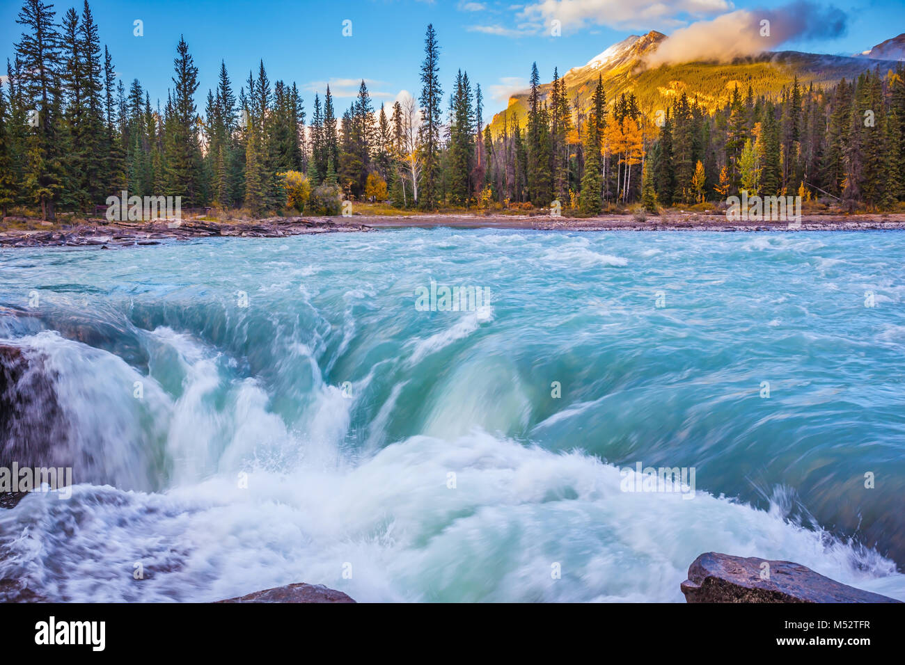 Emerald water roars and foams - Stock Image