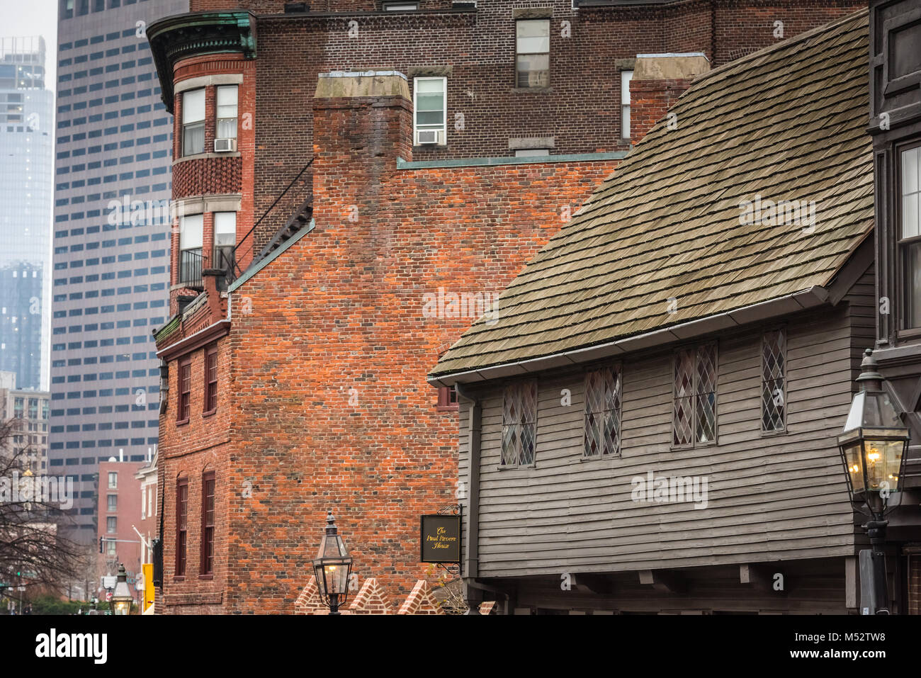 The Paul Revere House in Boston, Massachusetts was the colonial home of American patriot Paul Revere during the Stock Photo