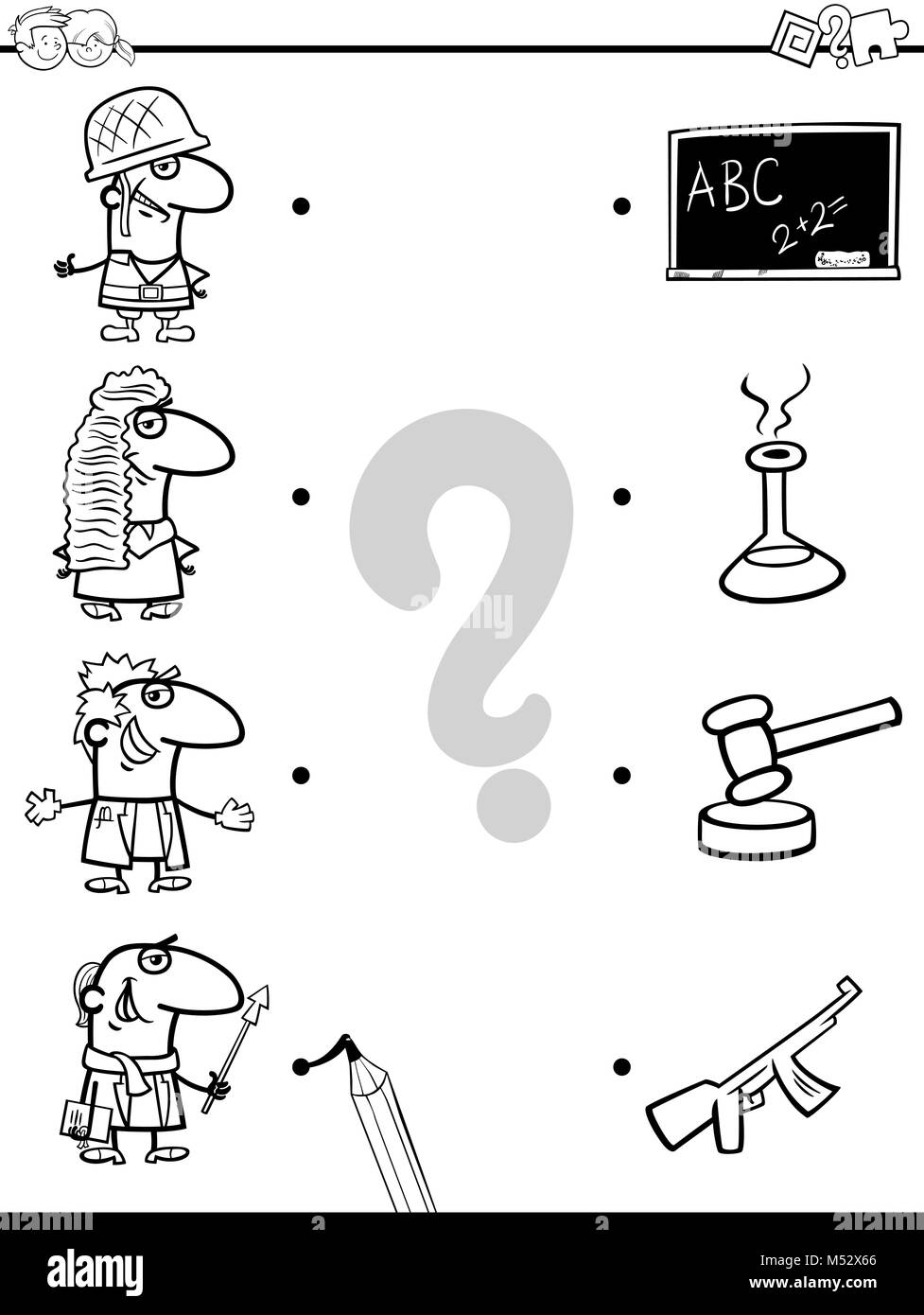 match professions educational coloring book - Stock Image