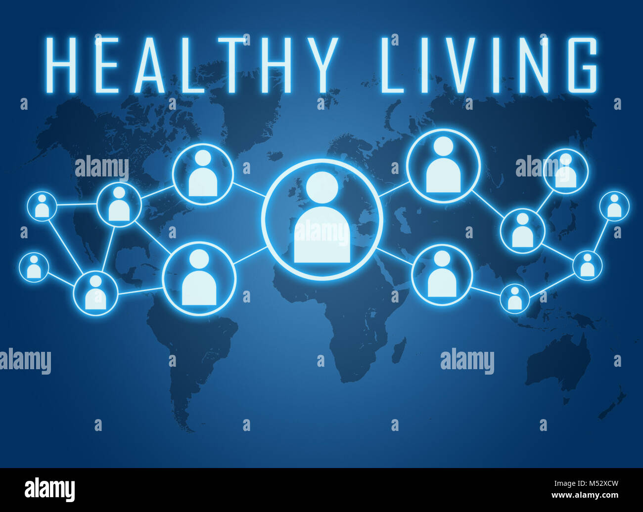 Healthy living text concept - Stock Image