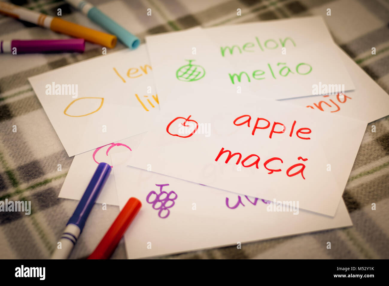 Portuguese; Learning New Language with Fruits Name Flash Cards Stock Photo