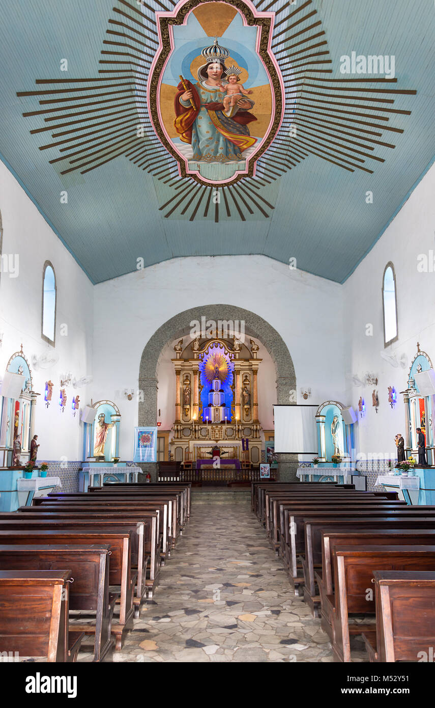 Ilhabela, Sao Pablo, Brazil - February 17th, 2018: Interior of the church of Our Lady Of Help (Nossa Senhora da - Stock Image