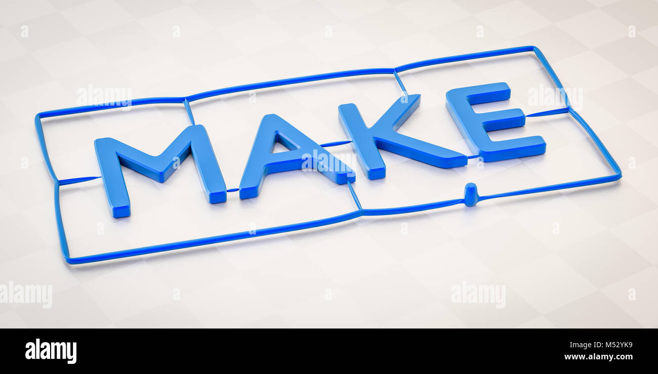 plastic injection molding word make - Stock Image