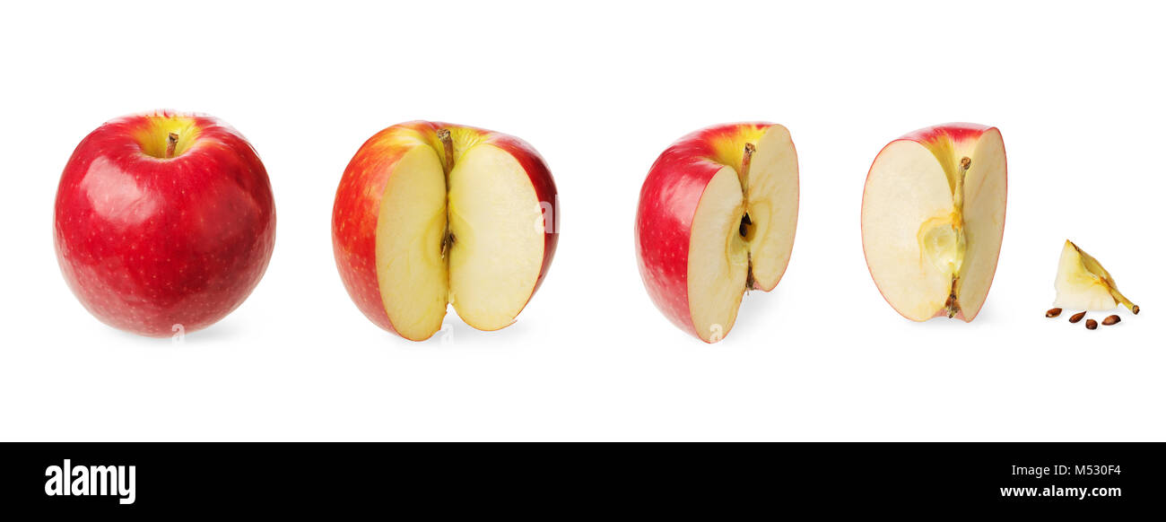 Fresh whole and cutted apple - Stock Image