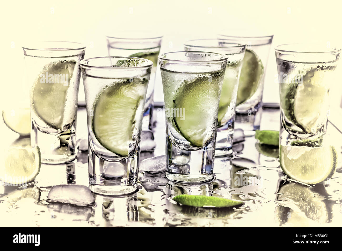 Selective focus. Gin tonic with lime wedges - Stock Image