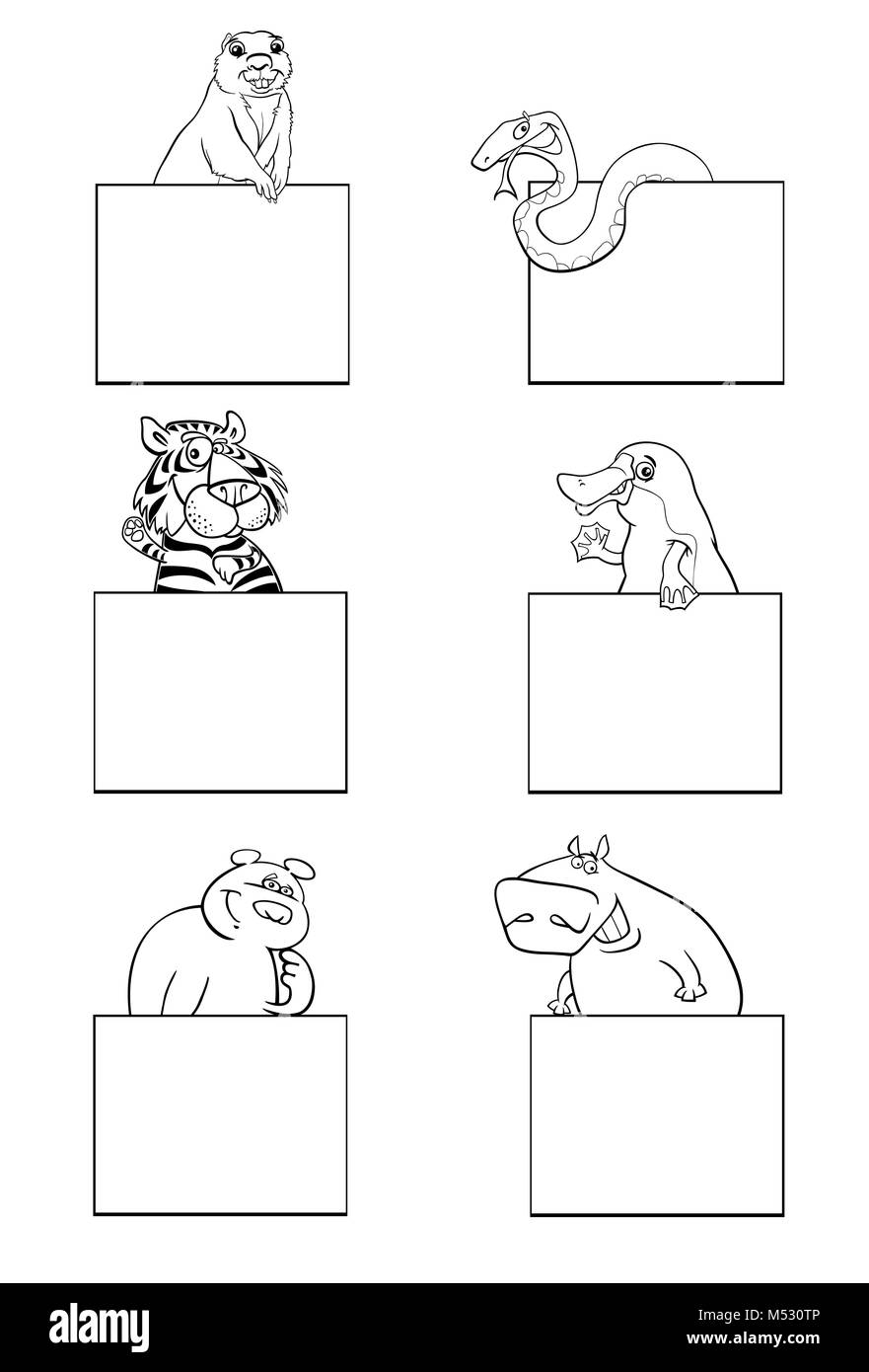 animals with cards black and white set - Stock Image