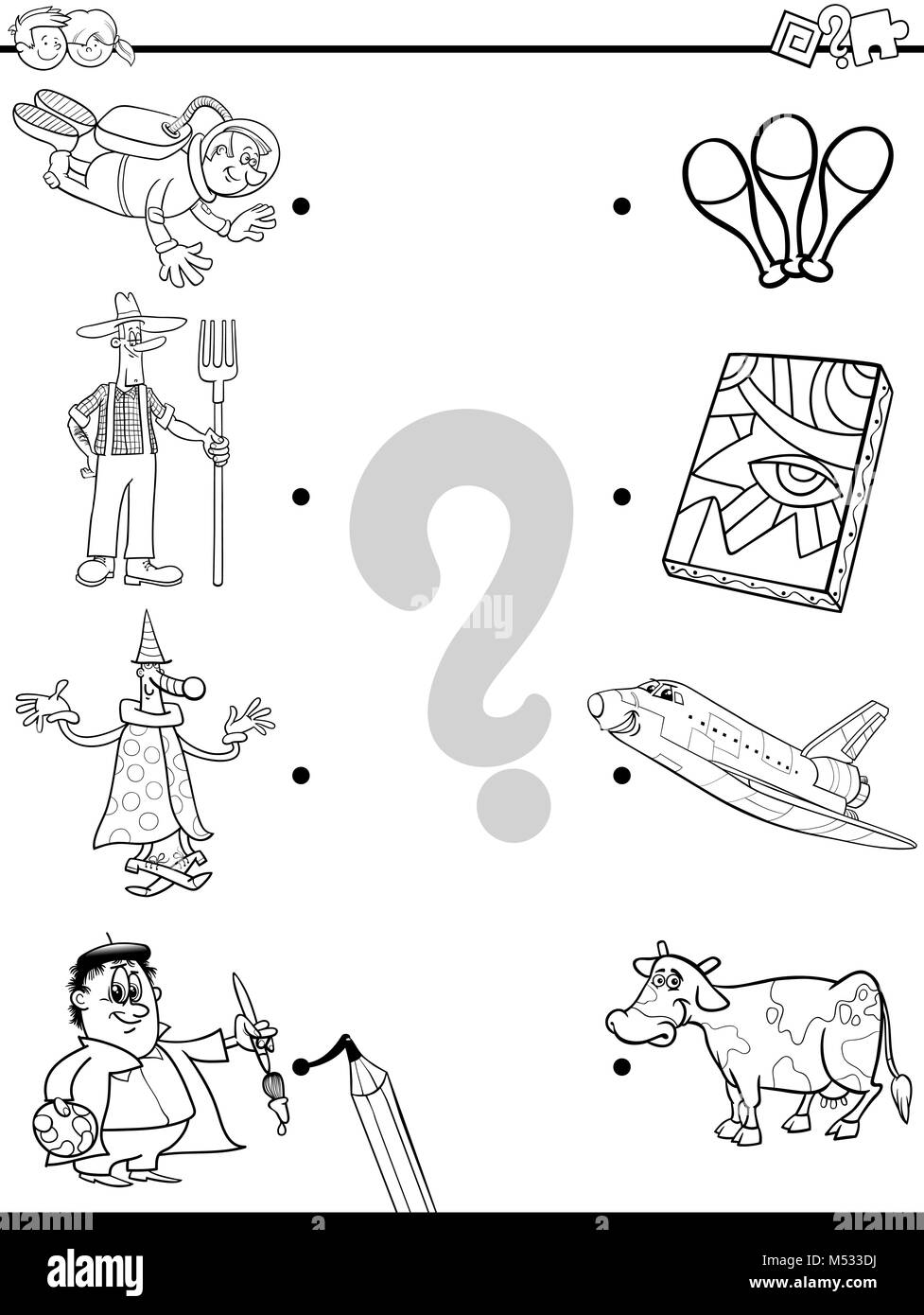 match people and objects coloring book - Stock Image