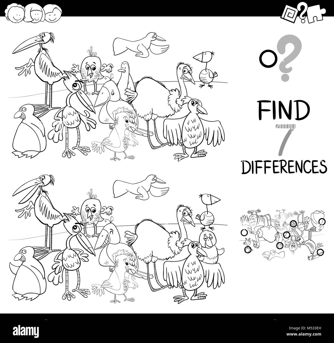 spot the difference with birds coloring book Stock Photo ...