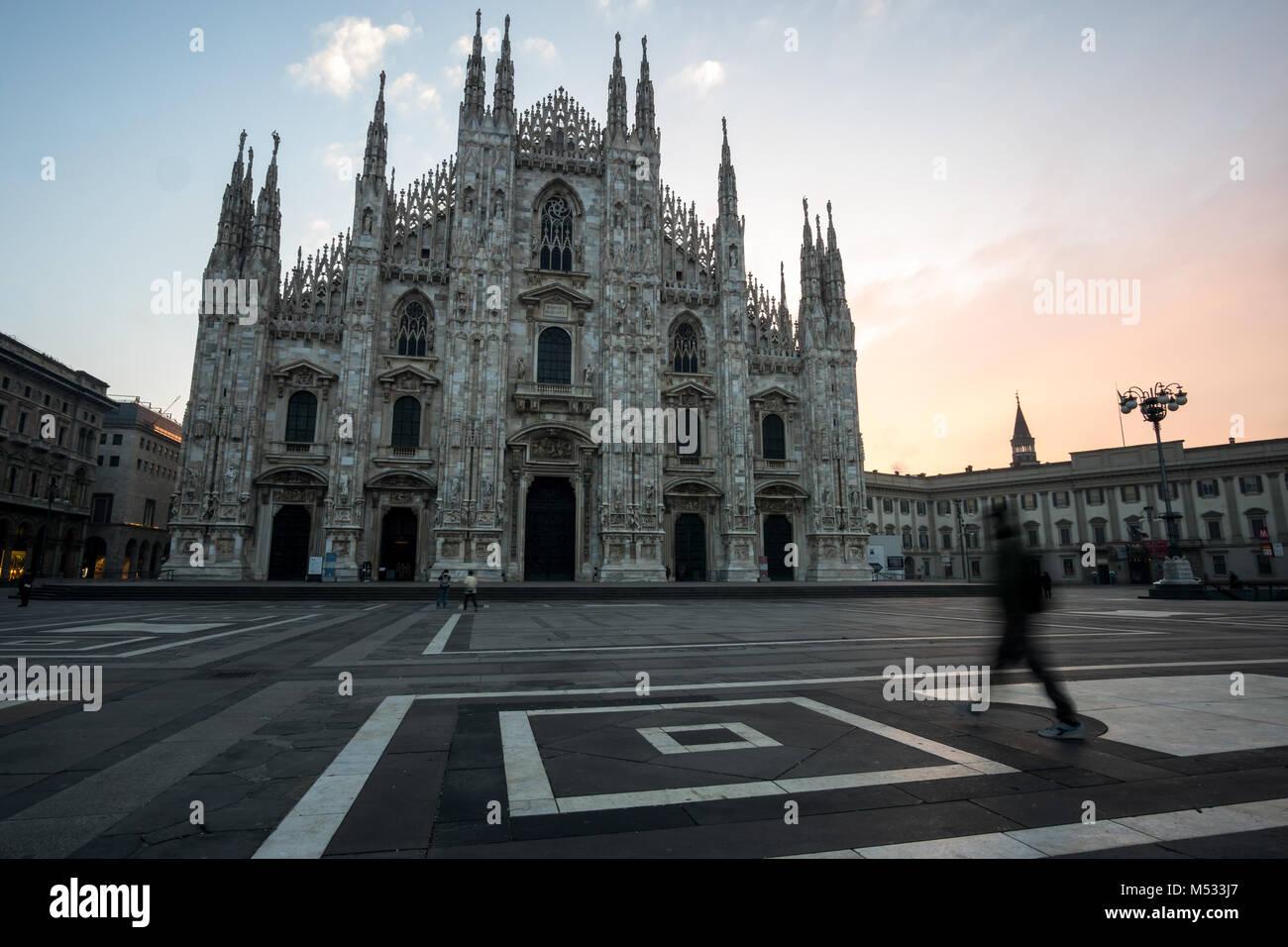 Milan Duomo during sunrise - Stock Image