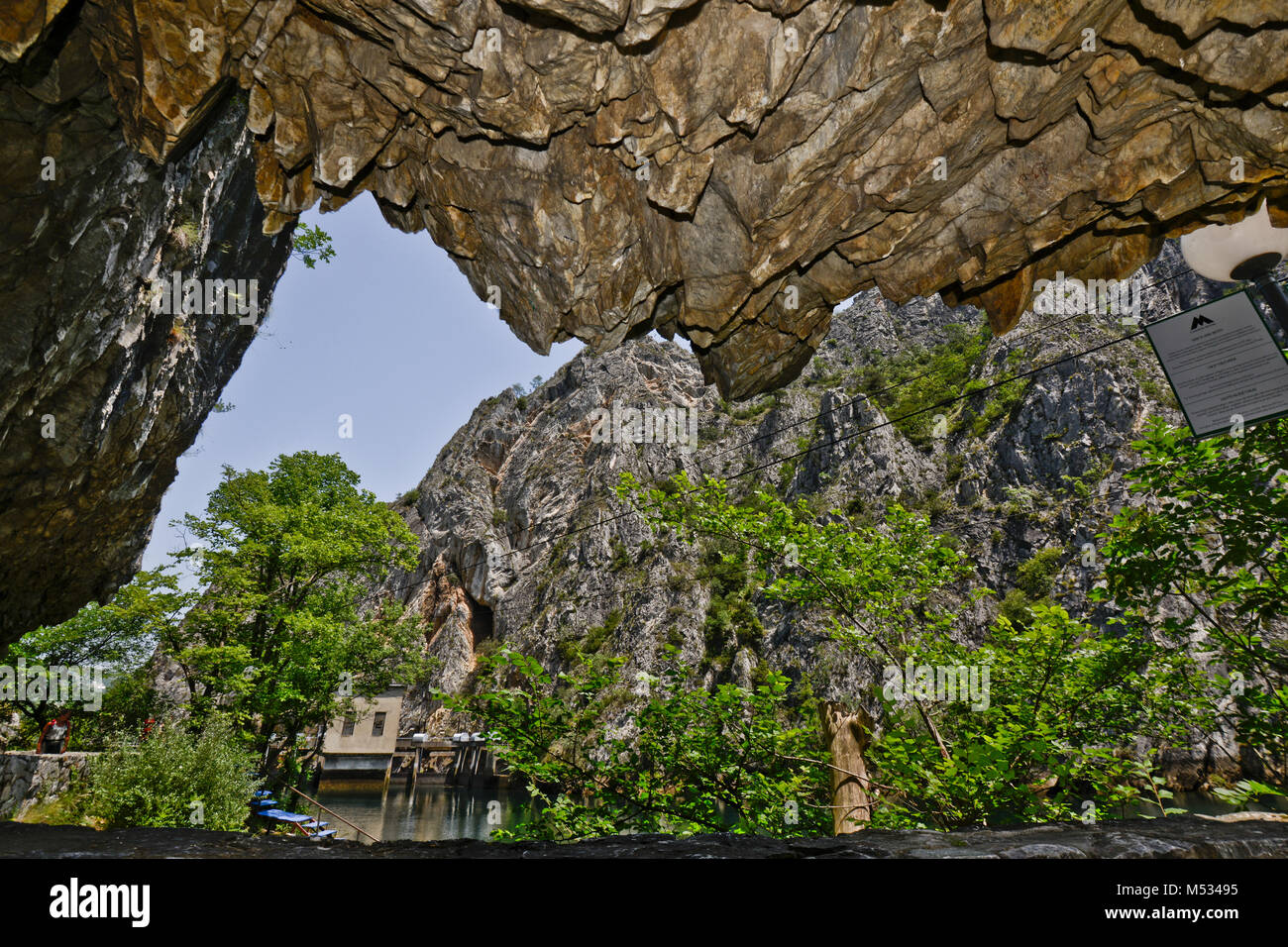 Matka Canyon, view from inside a cave, Macedonia - Stock Image