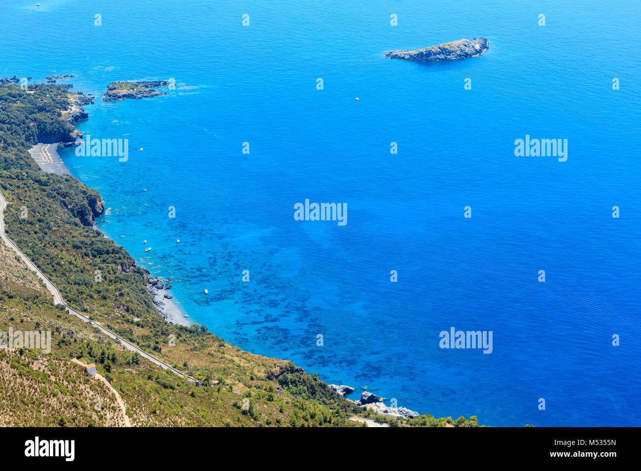 Tyrrhenian sea coast near Maratea, Italy - Stock Image