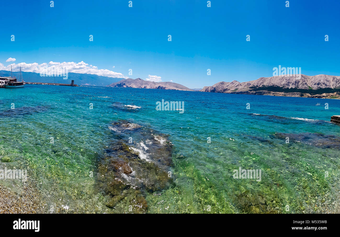 Island Krk: Baska beach , Croatia - Stock Image