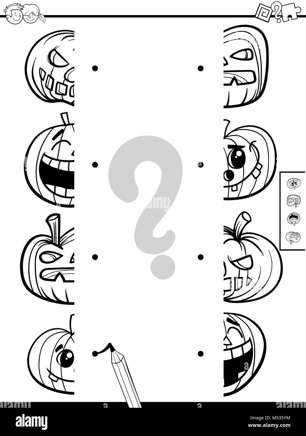match halves of pumpkins coloring book - Stock Image