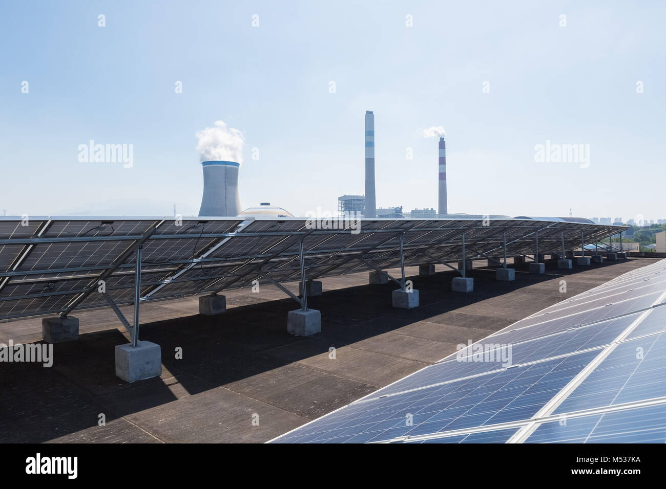 roof solar energy and thermal power plant - Stock Image