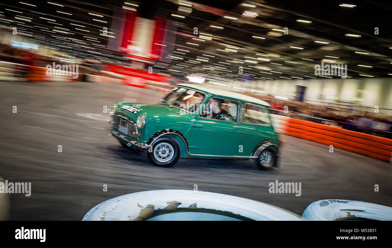 The Twini - Twin engined 1976 Mini Cooper S driving demonstration at The London Classic Car Show & Historic - Stock Image