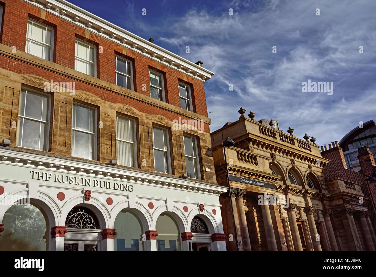 UK,South Yorkshire,Sheffield,Ruskin Building & Fraternity House on Norfolk Street - Stock Image