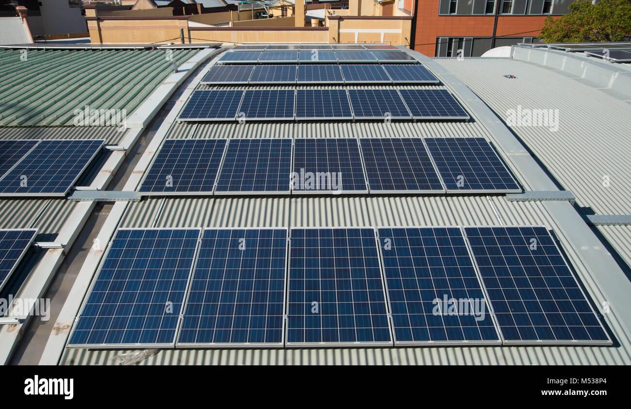Solar panels on a building in Sydney Australia - Stock Image
