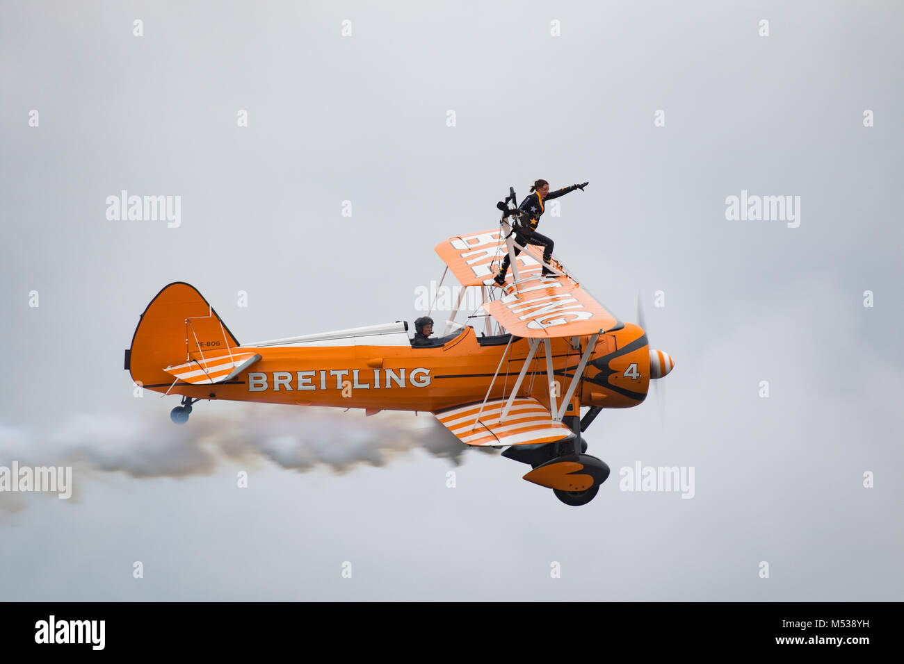 Breitling Wing Walkers in flight. Stock Photo