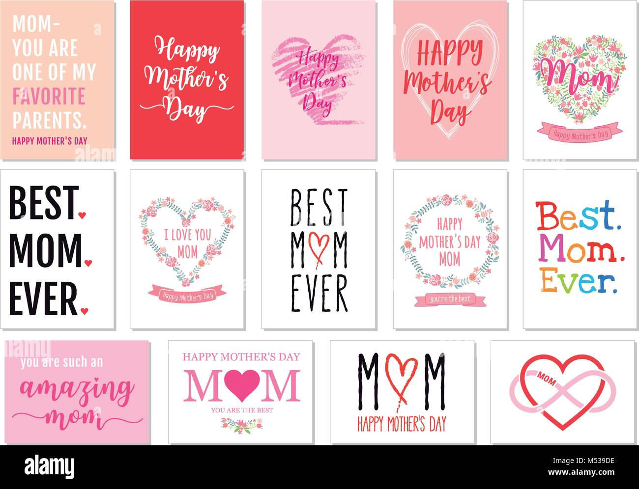 mothers day cards with hand drawn graphic design elements vector set