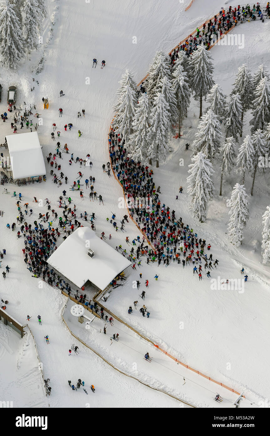 Aerial view, ski lift, snow, wating line in front of the ski lift, winter in winter mountain, winter mountain, Sauerland, Stock Photo