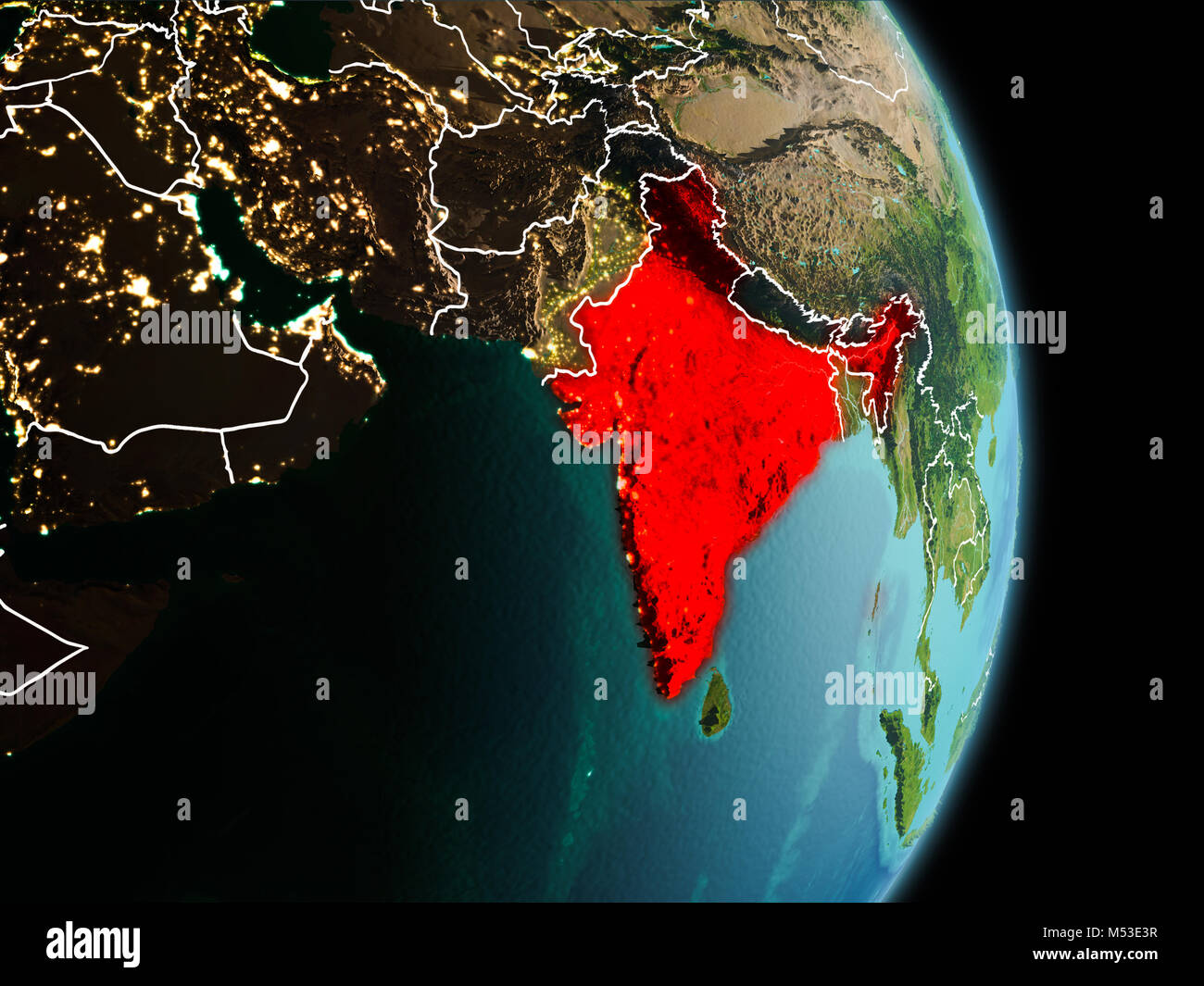India political map stock photos india political map stock images satellite morning view of india highlighted in red on planet earth with visible border lines and gumiabroncs Gallery
