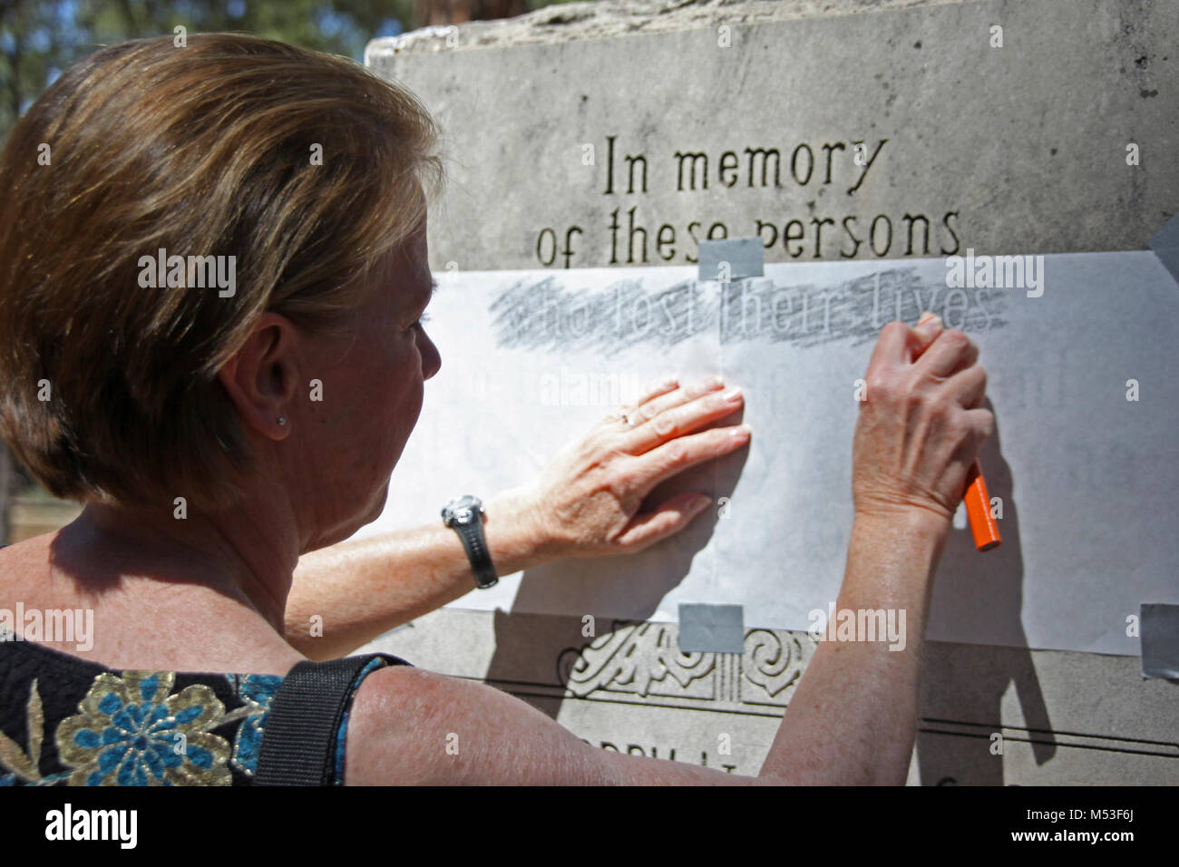June 30, 2014 Wreath laying ceremony -  GC Pioneer. Making a rubbing from the United Airlines memorial at the Grand - Stock Image