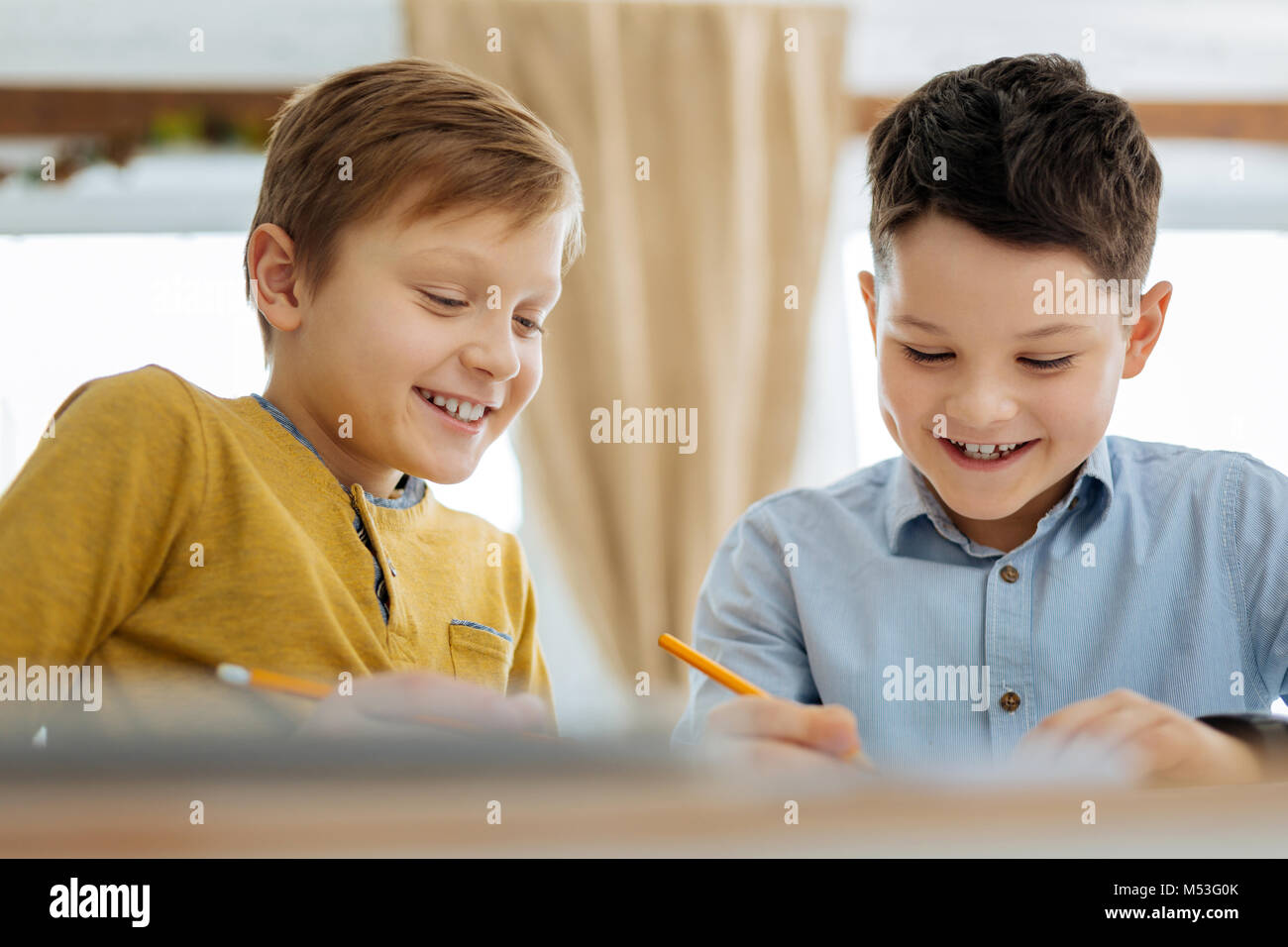 Happy pre-teen boys drawing together - Stock Image