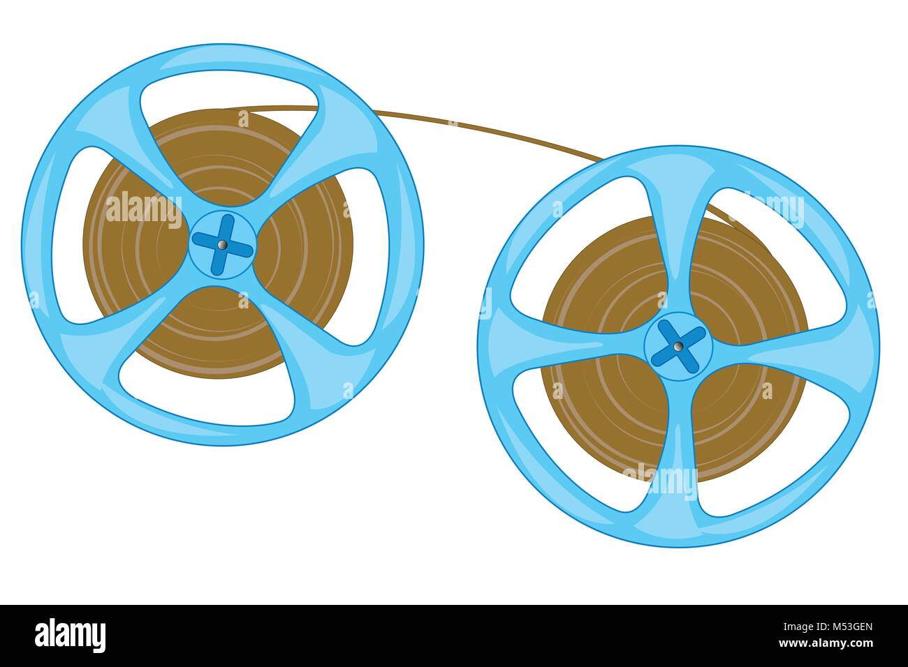 Spool with tape from player - Stock Vector