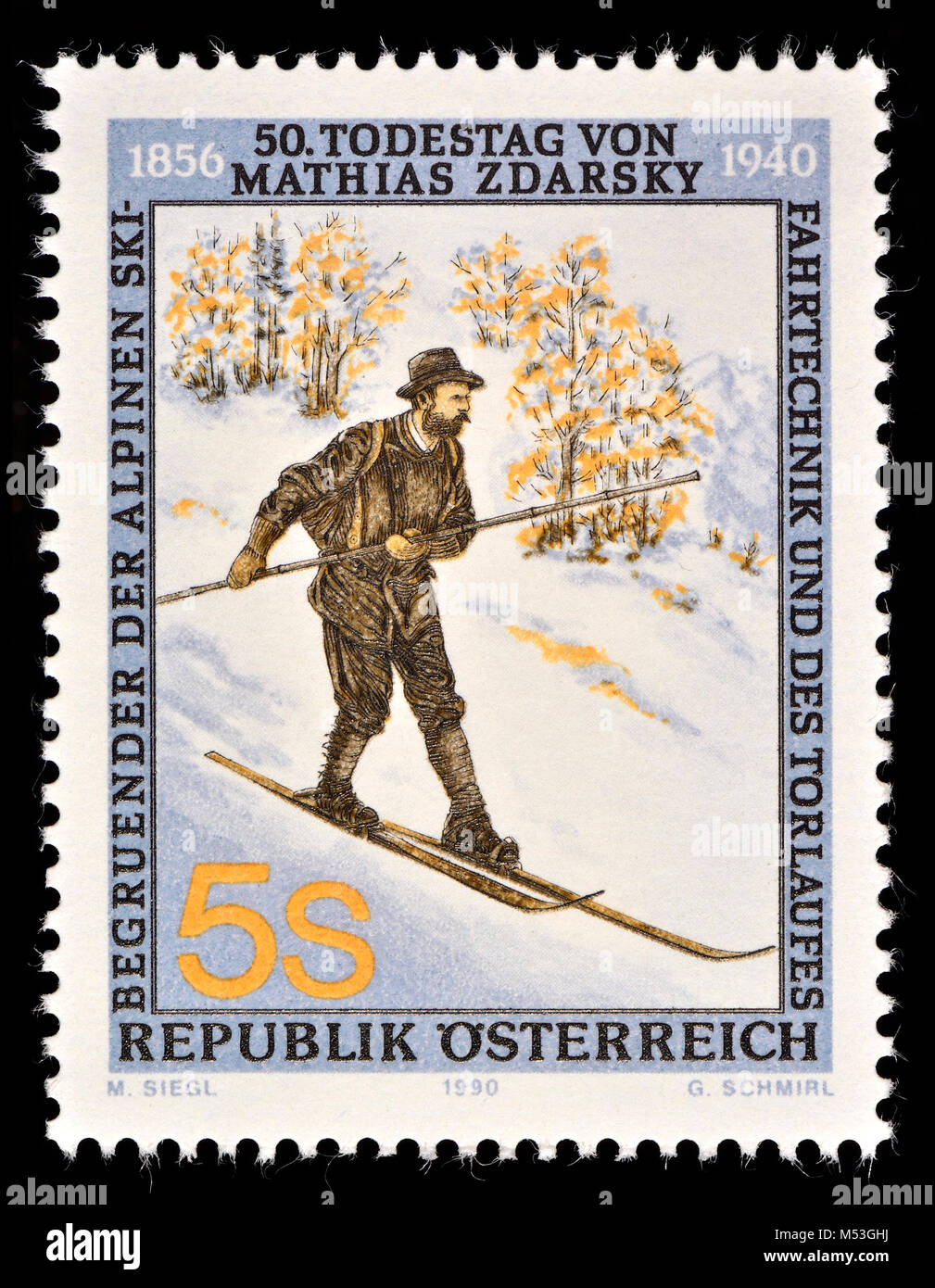 Austrian postage stamp (1990) : Mathias Zdarsky (1856-1940) early ski pioneer and considered one of the founders - Stock Image